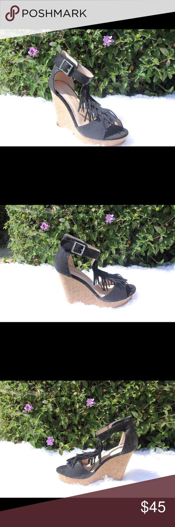 Ladies high top ankle buckle snake skin wedge.blk Very nice wedge sandals for ladies, snake skin black color, high top with ankle buckle, 4 inches heels, front band fringe, man made material, brand new in box. True to size. Tan color available in different ladies sting. NO TRADES SHOEROOM21 boutique Shoes Wedges