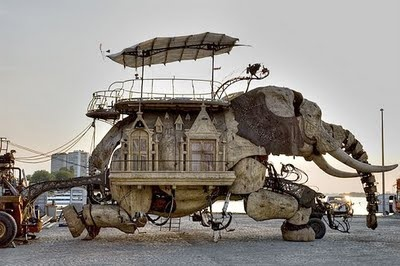 Elephant House at the Burning Man Festival. Made from fully recycled material. Weighs 45 tons. The annual migration to the sun scorched Nevada desert is in full swing in September 2011.