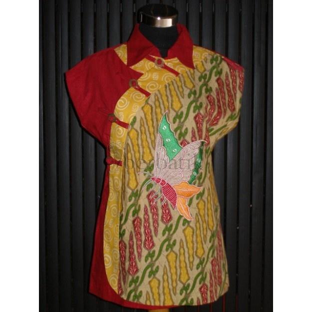 Blouse Batik motif kupu. Bordir + bahan Emboss.