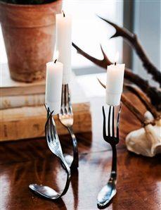 Ljusstakar av gafflar