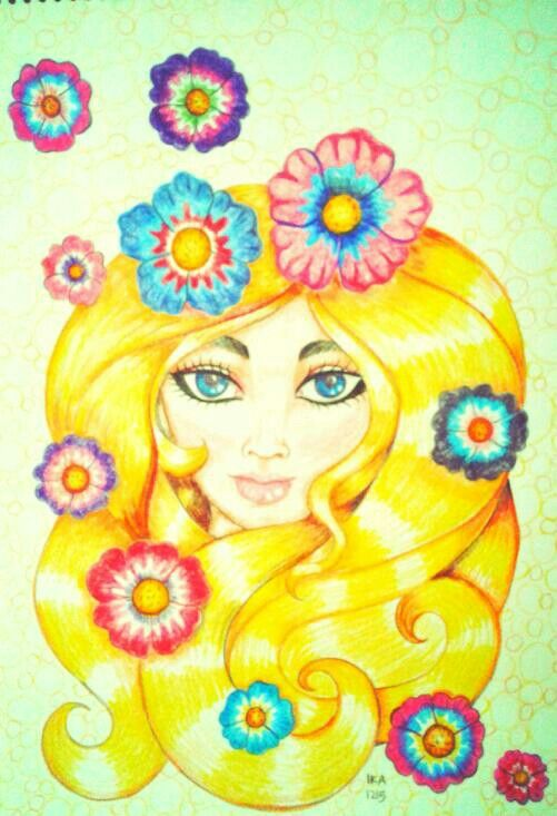 """Flower girl"",drawing,colored pencils on paper,2015"