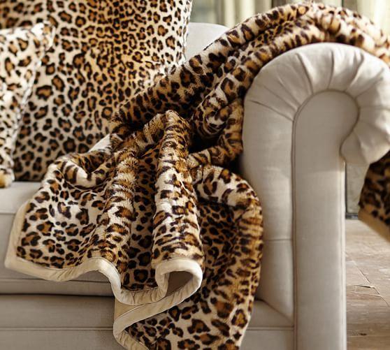 Faux Fur Throw Brown Cheetah | Pottery Barn