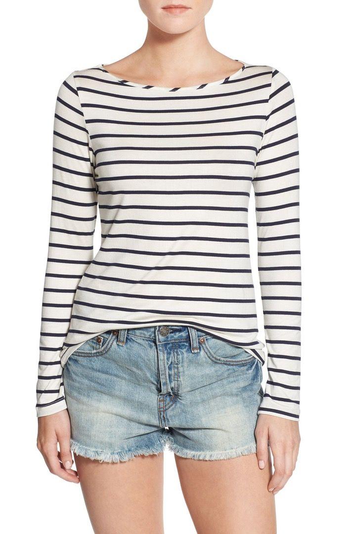 Main Image - Amour Vert 'Francoise' Nautical Long Sleeve Top