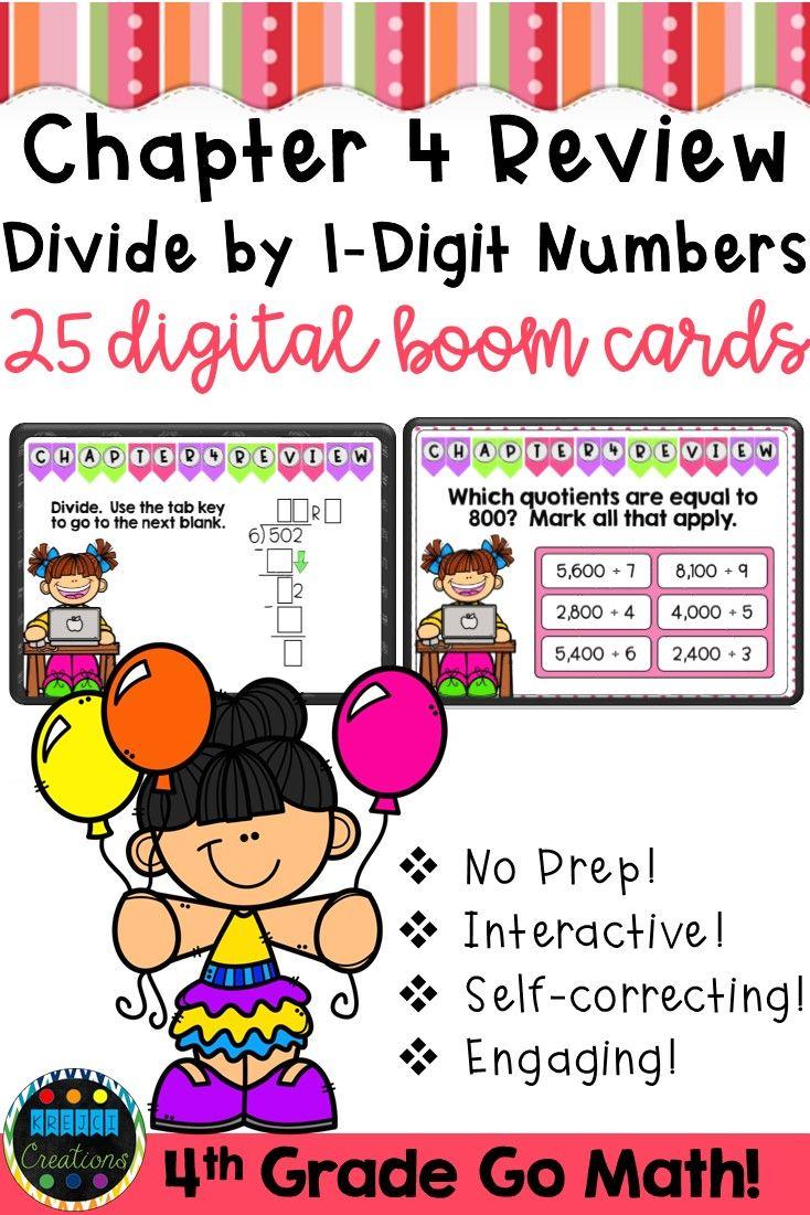 4th Grade Math Test Prep   Long Division Digital Boom Cards   Krejci