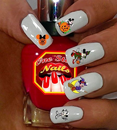 Disney Halloween Mickey and Minnie Set of 60 Clear Waterslide Nail Decals DH-002-60 by One Stop Nails