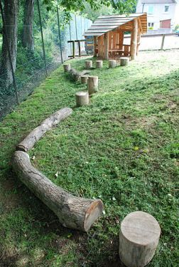 a path of stumps and logs, via Playground Build & Design | Natural Child Play | Earth Wrights Ltd