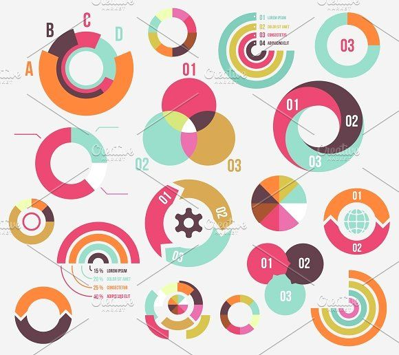 Circle charts by Microvector on @creativemarket