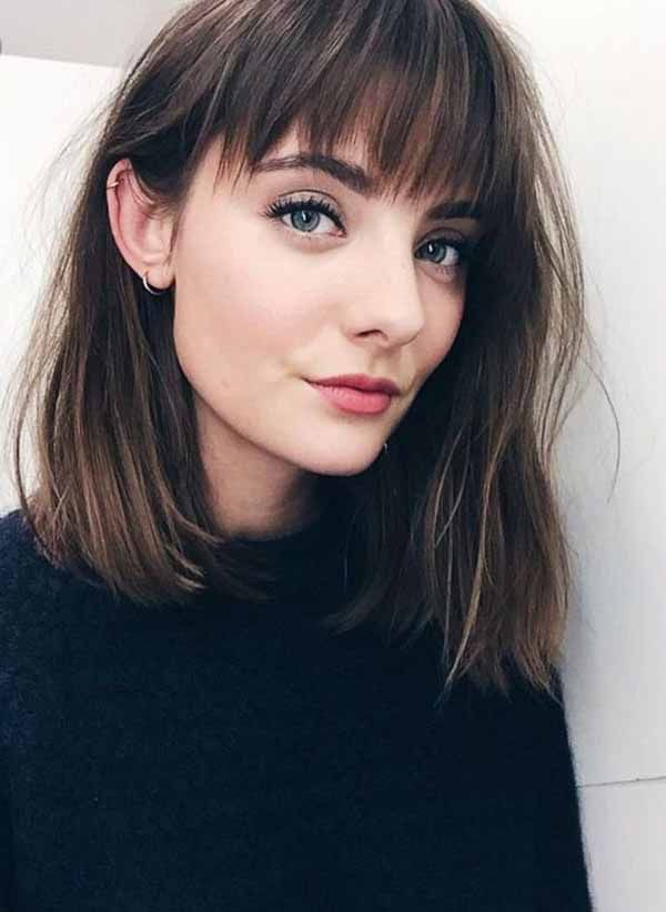 10 Marvelous Medium Length Spring Hairstyles For Your Fine Hair In 2020 Shoulder Length Hair With Bangs Bob Hairstyles Hairstyles With Bangs
