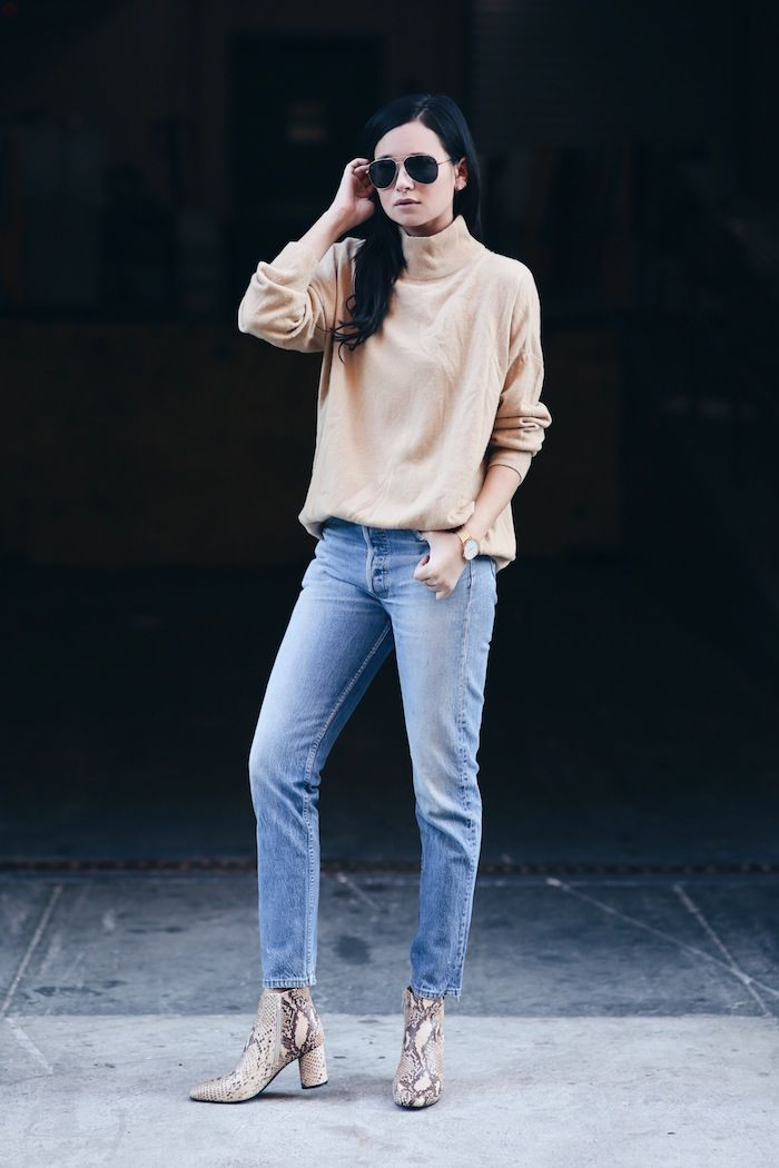 aviator sunglasses, tan turtleneck sweater, ankle grazing jeans and nude python boots #style #fashion #mockneck #snakeskin #weworewhat #blogger #denim: