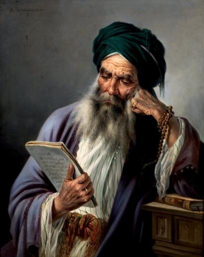 Antonio SCOGNAMIGLIO ÉCOLE ITALIENNE LE SAGE AU TURBAN VERT WISEMAN WITH