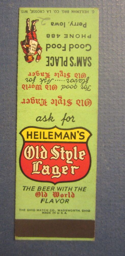 Old Vintage Heileman's Old Stlye Lager BEER Matchcover - Sam's Place PERRY IOWA    eBay