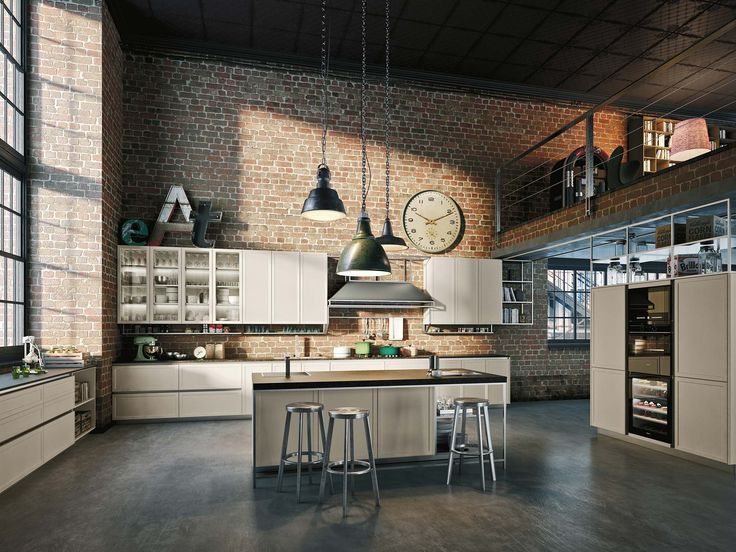 A modern kitchen design that also includes industrial and classical influences, in an interesting mix of styles. With its play of materials, plus full and open volumes, Frame can fit easily into any environment, be it a modern setting, a more traditional home, or a casual loft-like space with vintage decor.