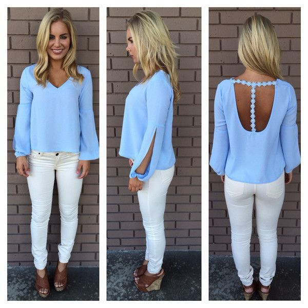 Powder Blue Blouse - Long Sleeved Blouse