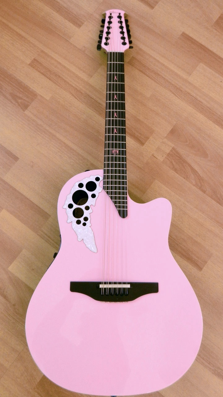Now That Is A True PINK Ovation Signature Guitar 1 For Melissa Etheridge And To Sell On E Bay Breast Cancer Research Funding
