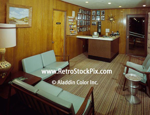 Crown Motel, Wildwood, NJ. - 1964 - Wood paneling in the motel office