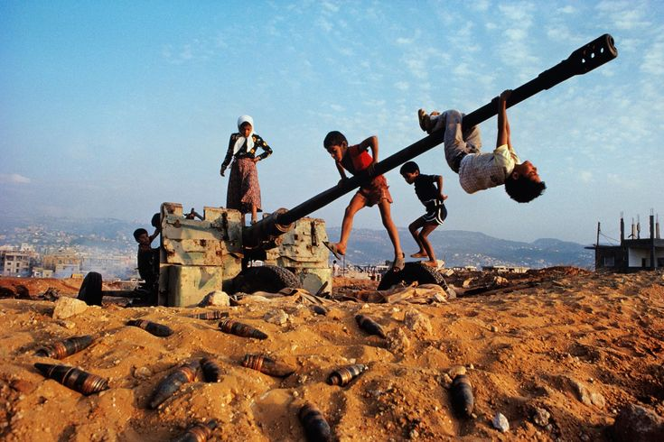 Children of War | Steve McCurry    Beruit, Lebanon     Photo from a set of Mc curry's called children of war. I really like the unique and ironic title and portrayal of war torn space. Could link to spaces brief.