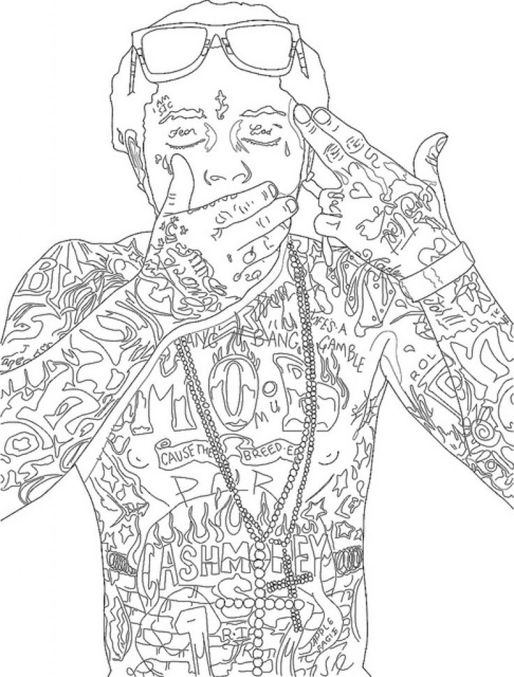 It is a picture of Wild Lil Pump Coloring Pages