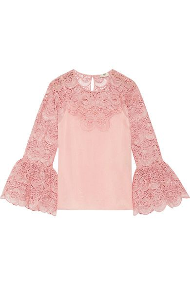 Pink organza and cotton-blend broderie anglaise  Button fastening keyhole at back 63% cotton, 25% silk, 12% polyester; lining: 100% silk; embroidery: 56% cotton, 33% silk, 11% polyester Dry clean Made in Italy