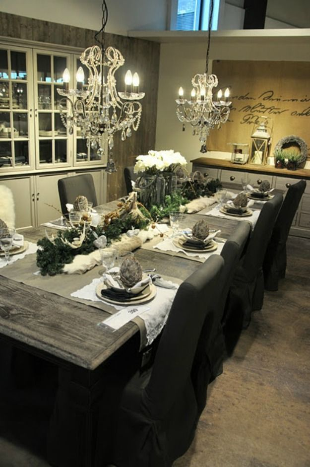 2 smaller chandeliers over a long table is always a good choice