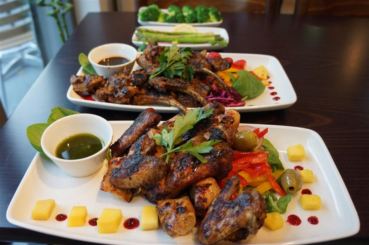 Gyms Kitchen Mixed Grill SHARING Platter (FOR 2-3) Cubed chicken breast, butterfly chicken breast, chicken wings, cubed lamb, lamb chops  1885 Calories 83g Fat 60g Carbs 226g Protein