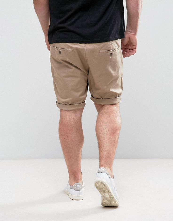 ASOS PLUS Skinny Chino Shorts In Stone - Stone
