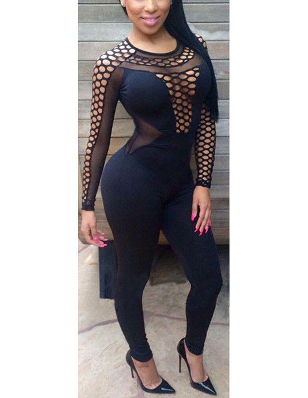 Women Black Sexy Mesh Sheer Keyhole Clubwear Bodysuit Bodycon Jumpsuit