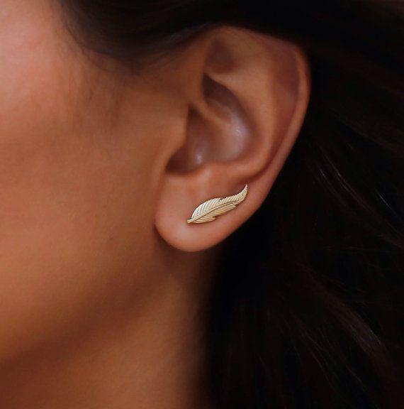 Gold feather ear climber