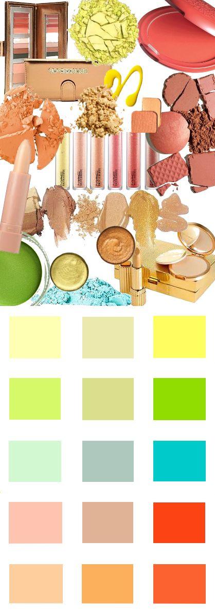 Make-up kleuren voor het Lentetype. Kleuren en Kleurcombinaties voor kleding haar en make-up #kledingkleuren www.coloru.nl