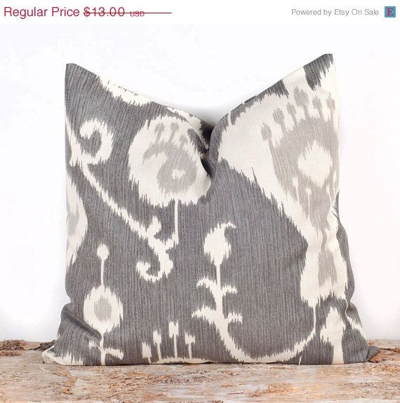 SALE Gray Ikat Pillow Cover, Decorative Bed Pillows, Toss Pillow Cases, 16 x 16 on Etsy, $11.70