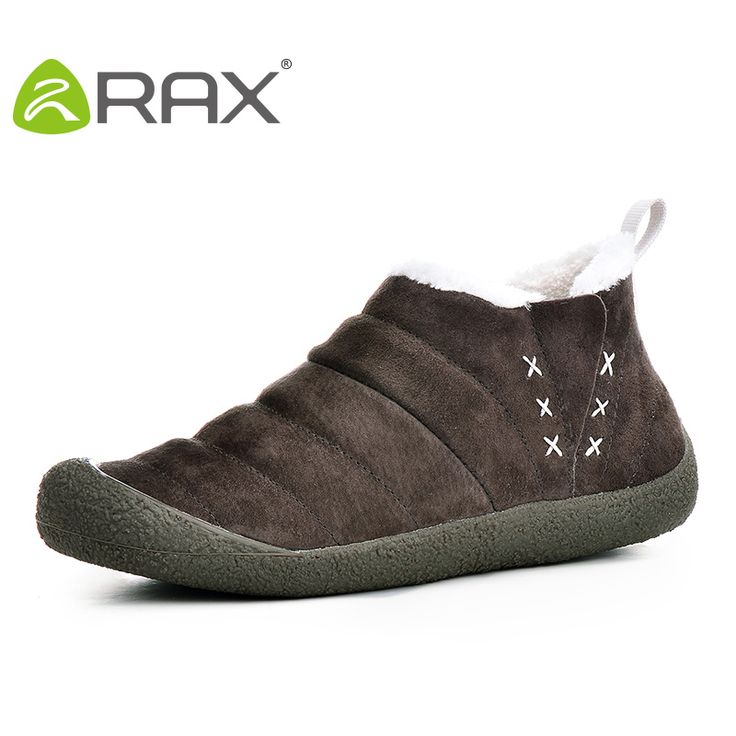 RAX Men Women Pig Leather Waterproof Snow Boots Warm Winter Outdoor Boots Breathable Walking Shoes 54-5N342