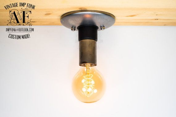 Steel Nickel Ceiling light Industrial Style ceiling light, Antique Edison Bulb, Lamp, Rustic Lighting