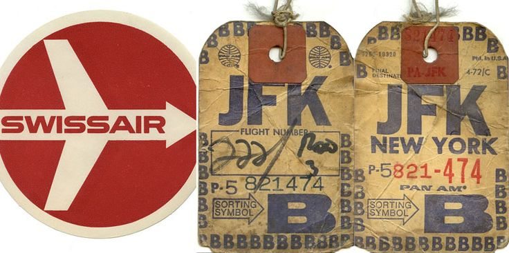 Swiss Air travel sticker with JFK airport luggage tags