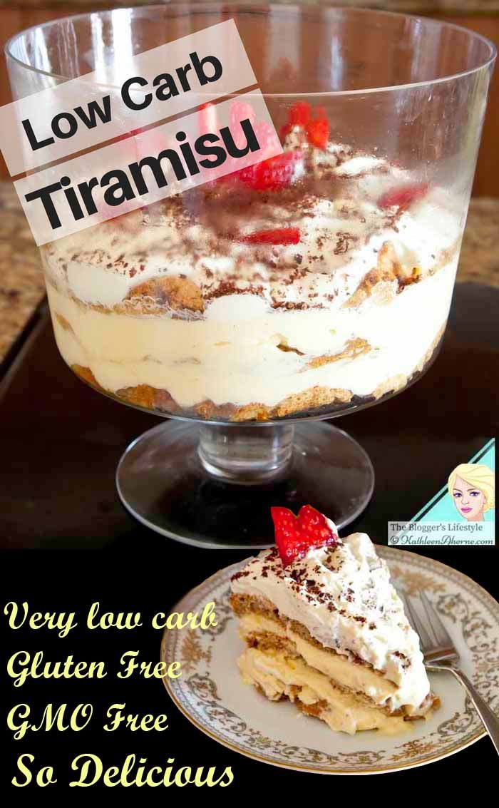 Very low carb Tiramisu - count the carbs on one hand. Gluten Free, GMO Free.  So very delicious all your guests will love it, they won't believe it is low carb.