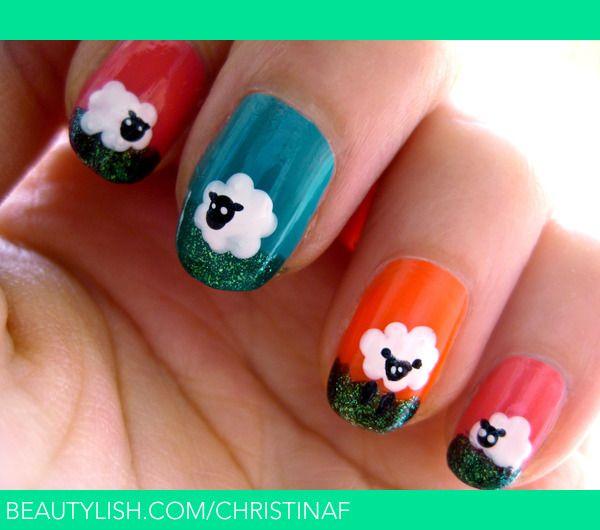 Baaaah. Sheep nail art. | Christina F.'s (christinaf) Photo | Beautylish