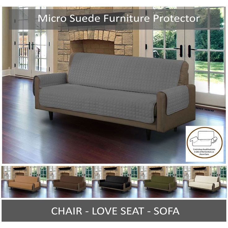 Sectional Sleeper Sofa Quilted Microsuede Pet Dog Couch Sofa Furniture Protector Cover With Tuck Drops
