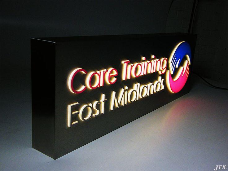 Stencil Cut Tray Illuminated Sign for  Care Training, East Midlands. jfkltd.co.uk