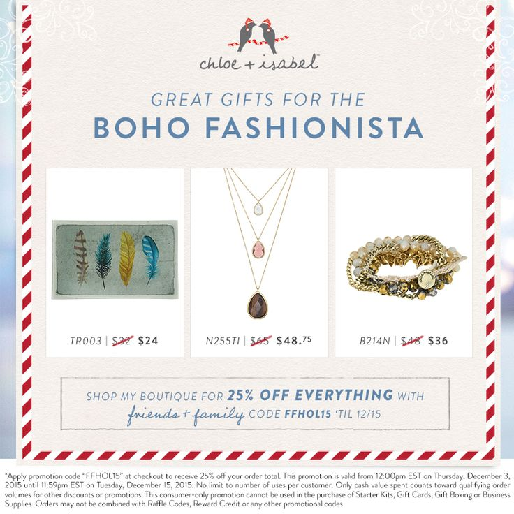 Great gifts for the boho fashionista – now 25% off on my boutique! Gift giving this season? Check out my boutique! ‪#‎jewelry‬ always fits!!  Gentlemen, i can help you pick out a gift she can wear for New Years. ......and get 25% OFF all orders now until Dec.15 www.chloeandisabel.com\boutique\noemilenette All on-line, delivered wherever you like!