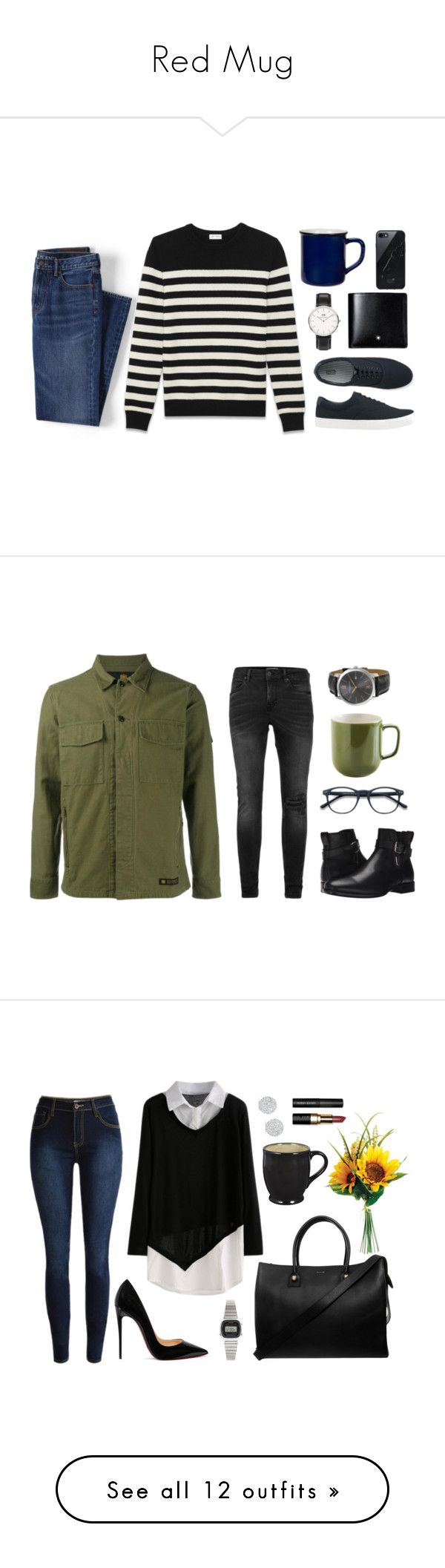 """""""Red Mug"""" by yasminferrare ❤ liked on Polyvore featuring Lands' End, Yves Saint Laurent, Uniqlo, Daniel Wellington, Montblanc, Native Union, Drake General Store, Topman, Aquatalia by Marvin K. and Neighborhood"""