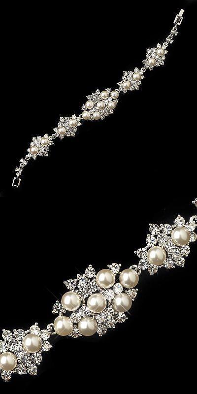 Bridal Jewelry 163552: Bridal Bracelet Silver Rhinestones And Diamond White Pearls Bride Wedding Jewelry -> BUY IT NOW ONLY: $82.95 on eBay!