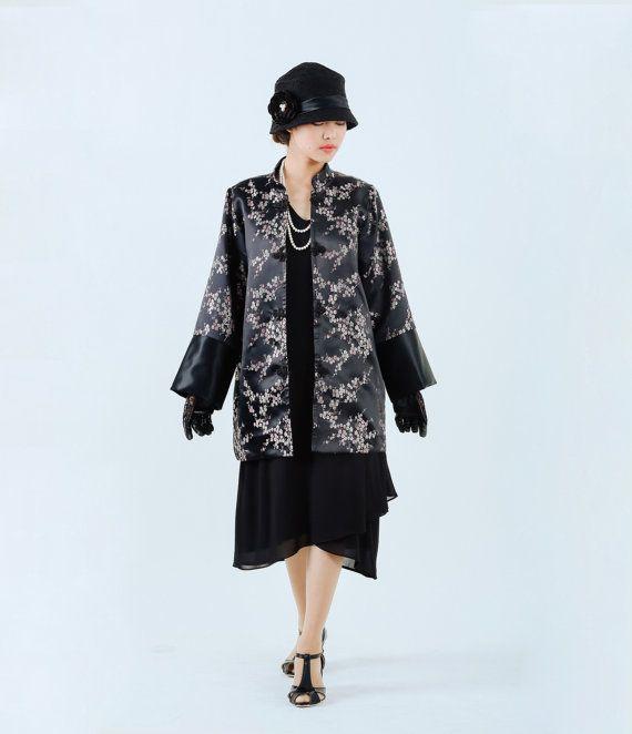 Black flapper jacket, 1920s oriental jacket, Miss Fisher jacket, Great Gatsby jacket, Downton Abbey jacket, 20s clothing, art deco jacket