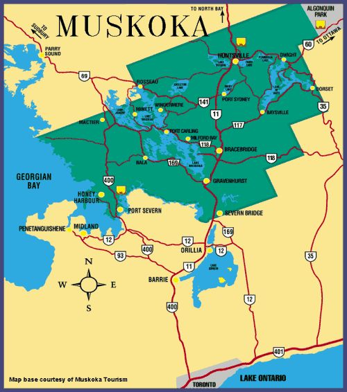 Map of District of Muskoka, Ontario, Canada  (Huntsville...my home)