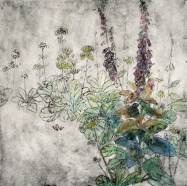 Foxgloves and Primula by Anna Perlin