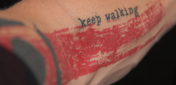 """""""I want to show you my new tattoo. Like the words scrawled across my chest, this one splashed down my left arm is allred and black and full of hope. But in order to tell you about this tattoo, I need to tell you a story."""" -Keep Walking"""