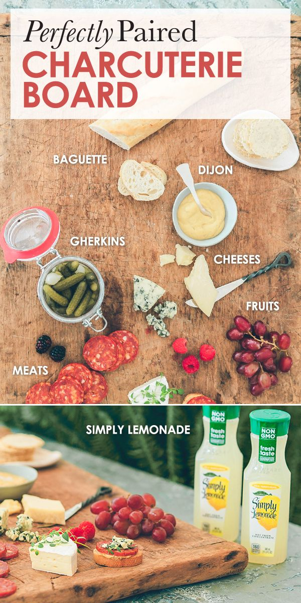 The perfect charcuterie board is as easy as 1, 2, 3. 1. Pair the meats with saltier cheeses, dijon, and little gherkins. 2. Save the fruity sweets for the creamy cheeses. 3. Serve with a fresh baguette and the refreshing taste of Simply Lemonade.