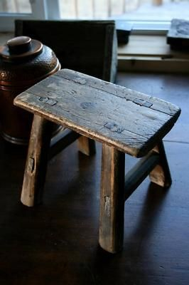 ornate primitive decor of the late 1800's   Old Wood Mortised Small Step Milk Stool Antique Vintage Completed
