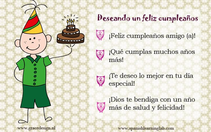 How to say happy birthday in Spanish (audio examples + practice). This Spanish lesson  includes some mini conversations about birthdays,  a few tips related to the way we talk about that and  a main conversation to test your listening ability (tu habilidad de escucha). Esperamos que sea útil para ti.