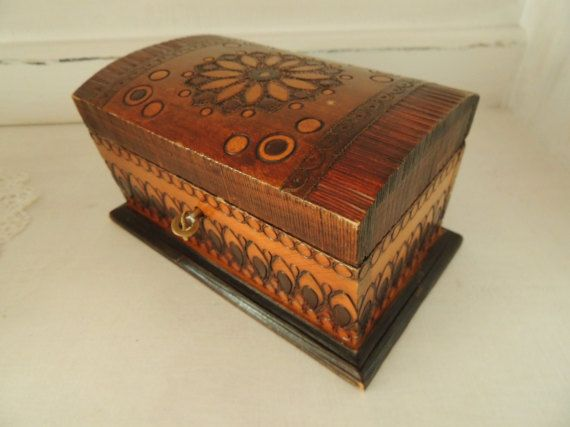 Vintage Wooden Box Carved Box Incrusted with Copper Jewelry