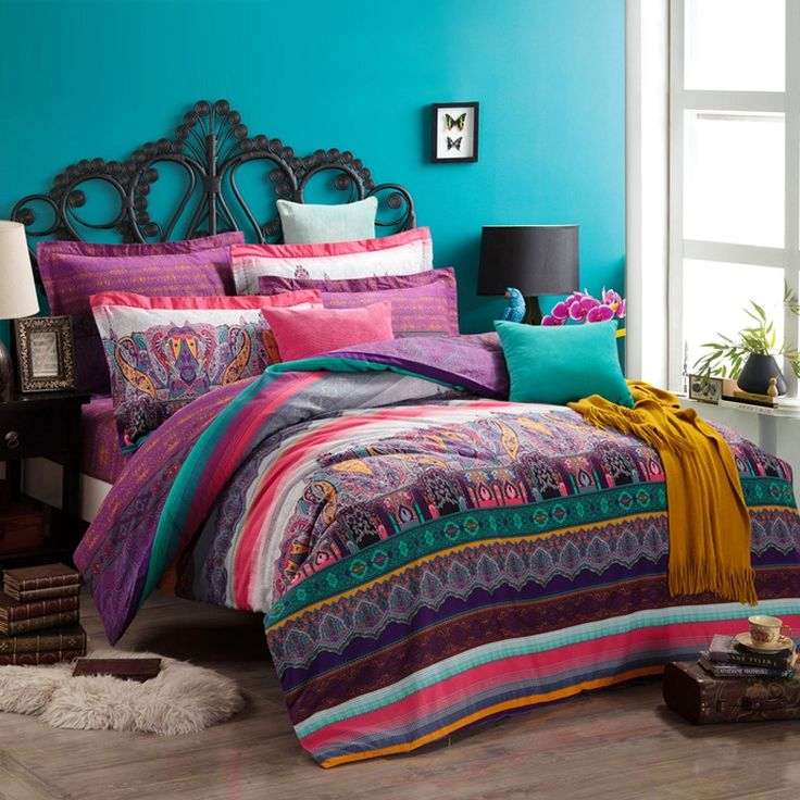 Turquoise Green Purple and Coral Red Shabby Chic Bohemian Indian Pattern and Western Paisley Pop Print Full, Queen Size Bedding Sets - EnjoyBedding.com