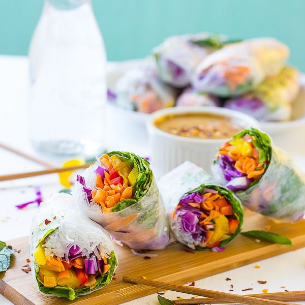 These Fresh Spring Rolls are a colorful, crunchy vegan meal that are perfect for a light lunch, dinner or appetizer!