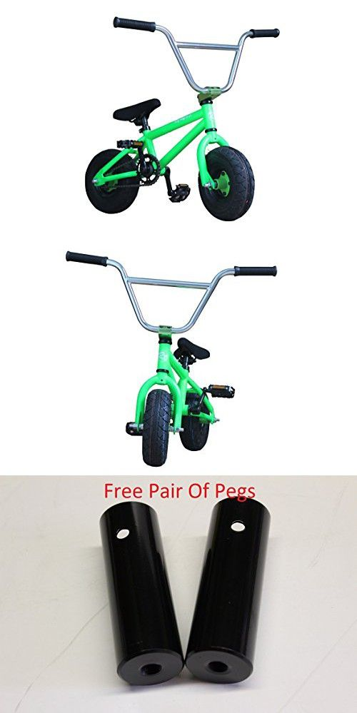 R4 Pro Mini Bmx Bicycle Trick Jump Freestyle with Pegs, Monster Green
